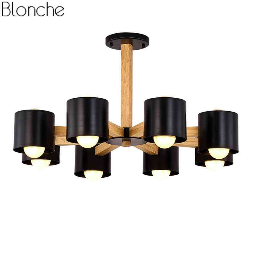 Nordic Solid Wood Chandelier Lighting Iron Lampshade Led Lamp Loft Hanglamp for Kitchen Light Fixtures Home Decor Luminaire E27 euignis nordic wood pendant light modern lighting luminaire suspendu e27 220v for decor kitchen light verlichting light fittings