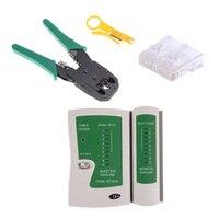 Ethernet Cable Tester Kit Crimp Crimper Pliers 100pcs RJ45 CAT5 Cat5e Connector Modular Plug Network Tool