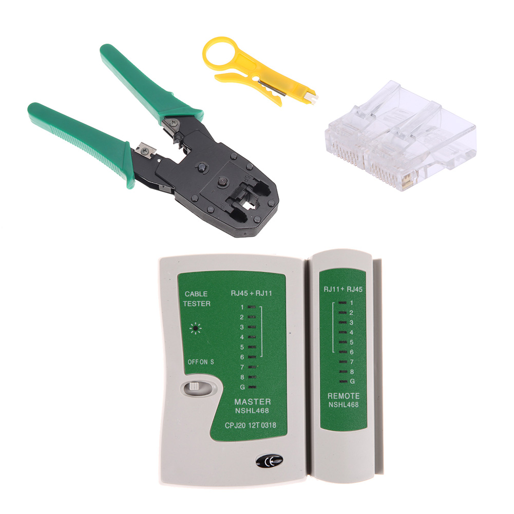 Kit testeur de câble Kit testeur de câble Ethernet pince à sertir + 100 pièces Rj45 Cat5 Cat5E connecteur modulaire Plug ensemble d'outils réseau
