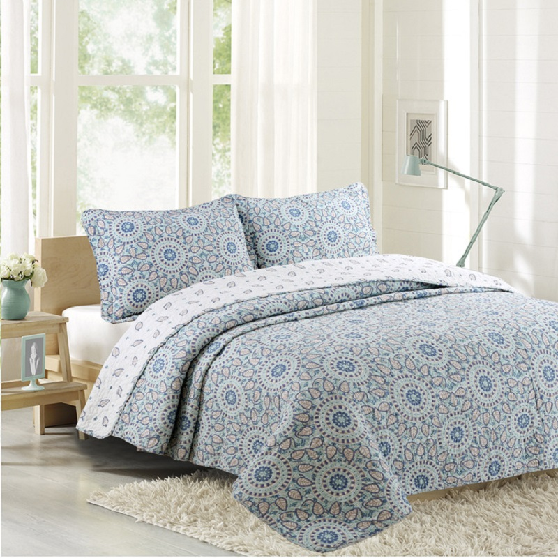 Simple Printed Bedspread Quilt Set 3pcs Quilted Bedding Cotton Quilts Bed Cover Pillowcase King Queen Size AB-side CoverletsSimple Printed Bedspread Quilt Set 3pcs Quilted Bedding Cotton Quilts Bed Cover Pillowcase King Queen Size AB-side Coverlets