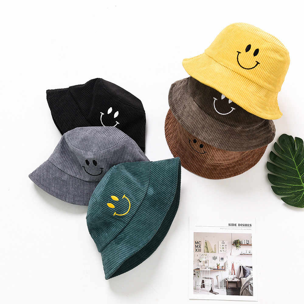 Kids Bucket Hat Smiling Face Casual Boys Girls Cap for 3 To 4 Years Old  Children 1d8d0eaa1069