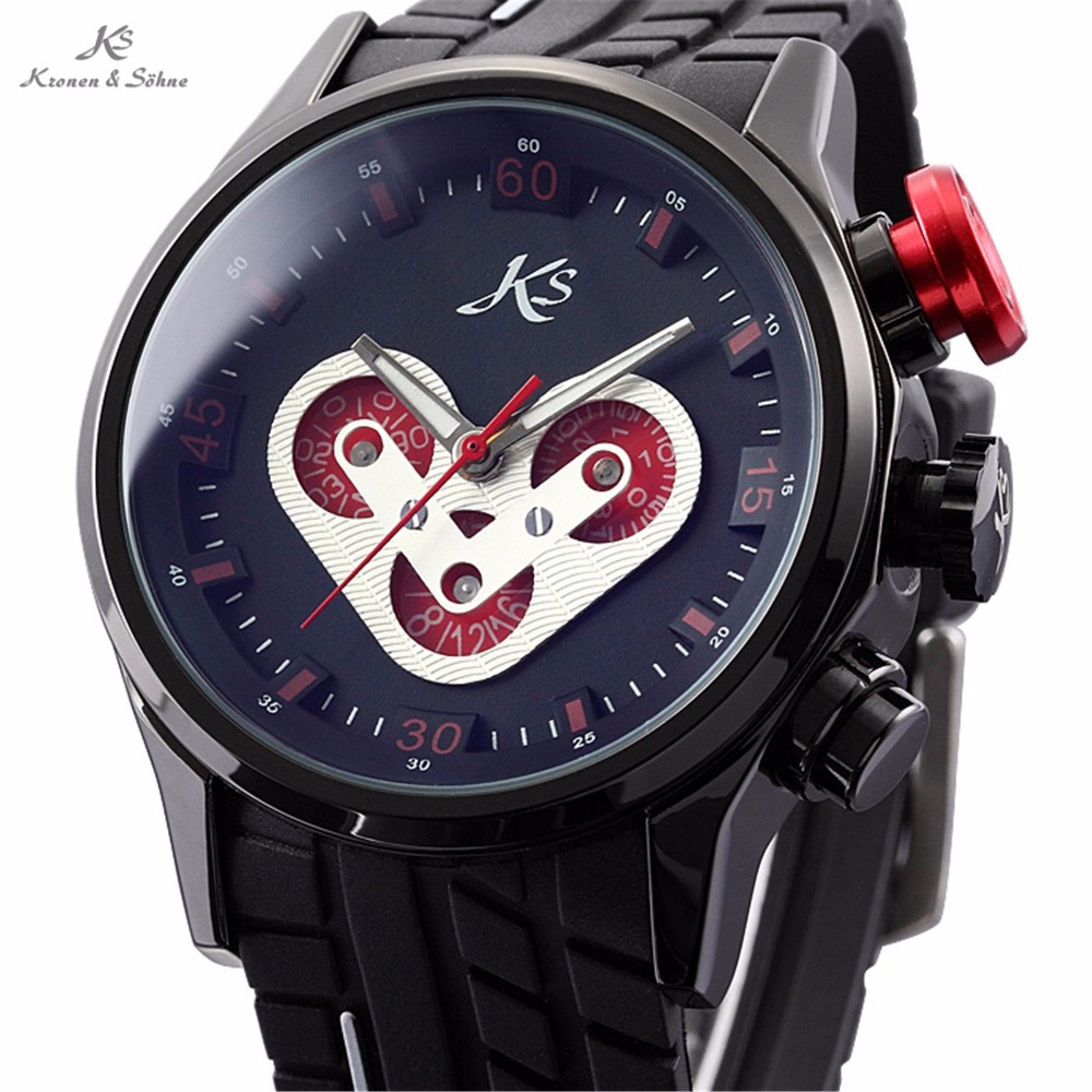 KS Brand Black Red Button Automatic Day Date Rubber Silicone Band Wrist Men's Racing Sport Mechanical Watch Montre Homme / KS073 chang sheng cs fwc rubber foam power strengthener wrist forearm exerciser gym black