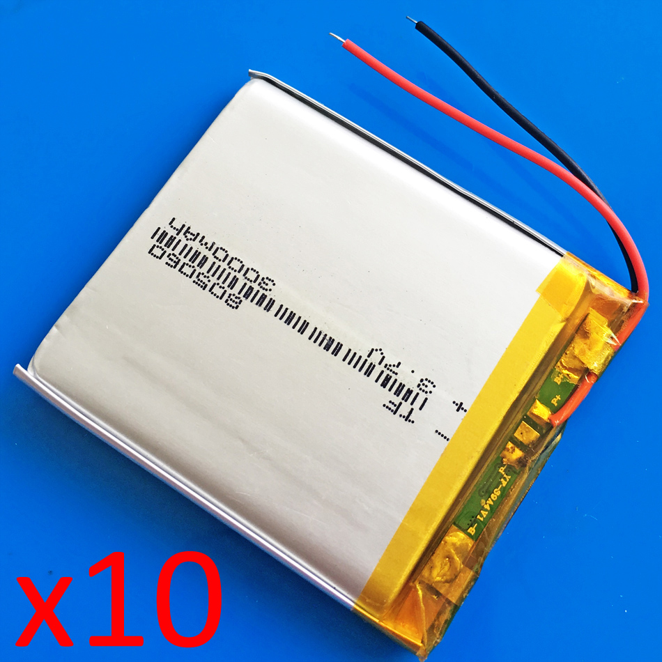 10 pcs 3.7V 3000mAh lipo polymer lithium Rechargeable battery Cell for GPS DVD power bank Tablet PC PAD PDA Laptop camera 805060 3 7v 5000mah 6060100 polymer lithium lipo rechargeable battery for gps psp dvd pad e book tablet pc power bank laptop mobile