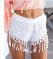 85%Acetate 2016 High Quality Sexy Fashion Tassel Beach Lace Shorts Famale Solid Color Black White Casual Women's Summer Shorts
