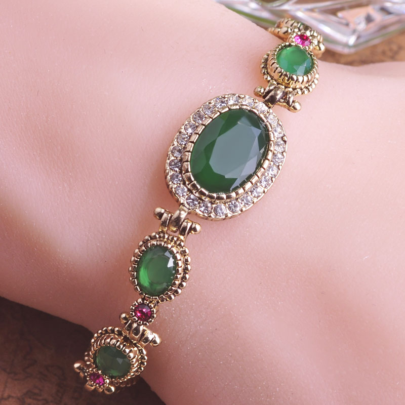 Blucome Exquisite Vintage Antique Gold-color Green Bracelet Oval Turkish Jewelry Pulseiras Wedding Bangles Bracelets For Women bracelet