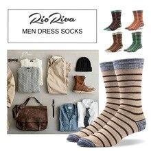 Rioriva Men Formal Dress Socks US 8-14 /EU 42-49 Socs Mid Calf CottonPlus Gift Box Classic Stripe Business Big Size Sox