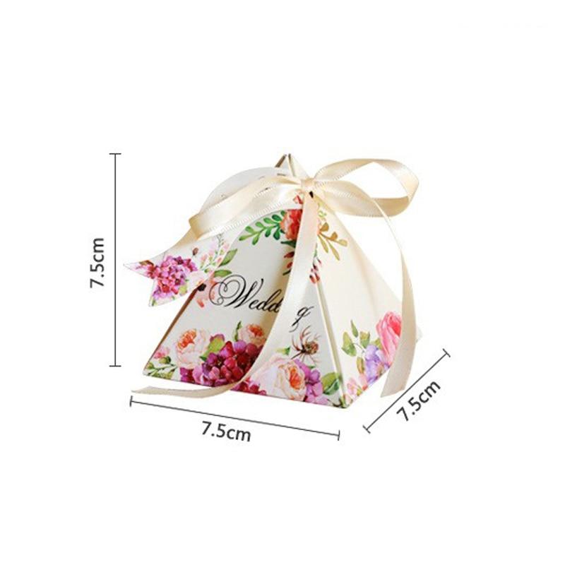 Купить с кэшбэком Free shipping High-quality Pyramid Candy Boxes Wedding favors Gift Box Wedding Party Favor Decoration 100pcs/lot