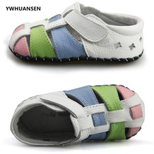 YWHUANSEN High Quality Full Grain Cow Leather New Born Baby Shoes Soft Sole First Walkers For Girls Boys Skid-Proof Moccasins