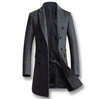 2017 Uomini Autunno Inverno Misto Lana Cappotti Cappotto Giacca Moda Casual da Uomo Slim Fit Grande Formato Peacoat Hombre Outwear