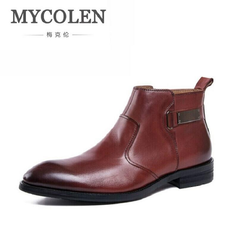 MYCOLEN Luxury Quality Italian Mens Ankle Boots Round Toe Business Bling Shoes High Top Male Elegant Dress Shoes Askeri Bot italian visual phrase book