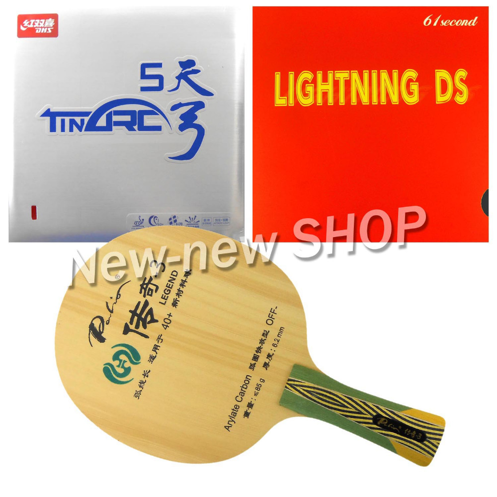Palio Legend-3 Blade with 61second Lightning DS and DHS TinArc5 Rubbers for a Racket Shakehand long handle FL palio energy 03 blade with dhs tinarc 3 and 61second ds lst rubbers for a racket shakehand long handle fl