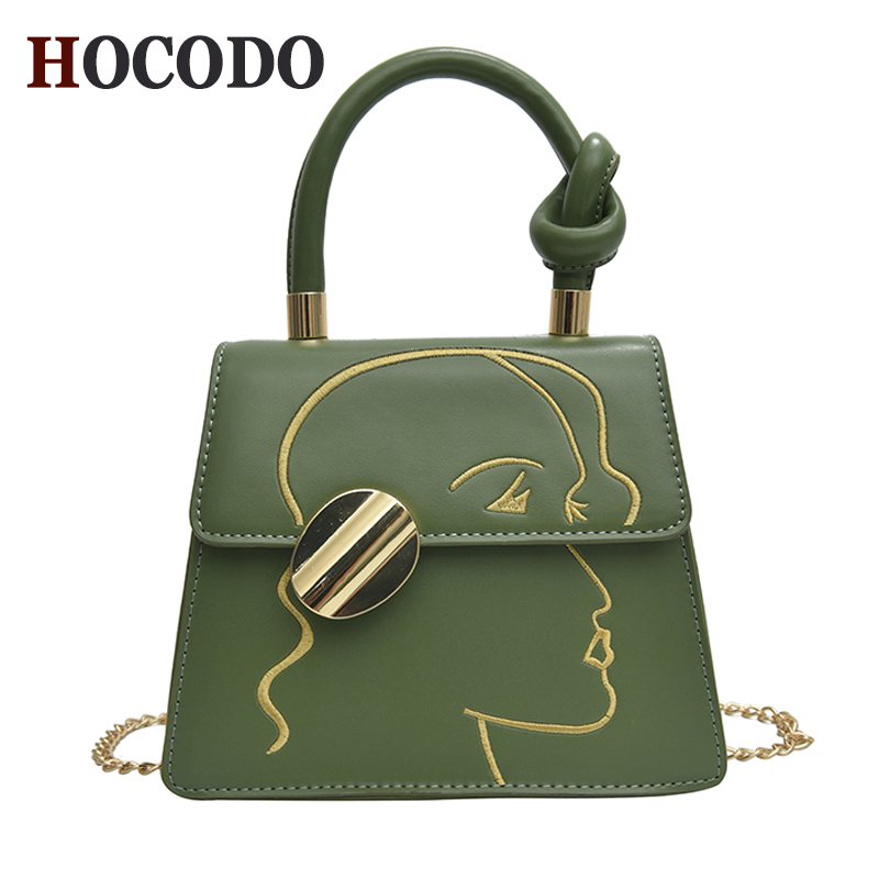 HOCODO 2019 Fashion Trendy Women Handbag Small Chain Shoulder Crossbody Bag Flap Graffiti PU Leather Ladies Messenger Bags Bolsa