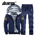 Jolintsai Sportsman Wear 2017 Fleece Sportwear Men Suit Plus Size 4XL Tracksuit Men Hoodie Hoody Sweatershirts+Sweatpants Sets