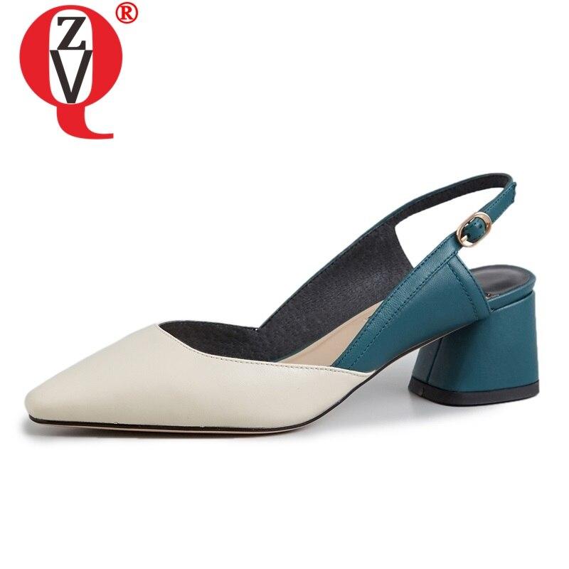 ZVQ scarpe donna primavera di nuovo modo misto di colori del cuoio genuino delle donne del panno pompe outdoor med piazza tacco fibbia scarpe basse-in Pumps da donna da Scarpe su  Gruppo 1