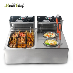 ITOP Commercial Electric Deep Fryer Pasta Boiler Stainless Steel Kanto Cooking Noodle Skewered Cooing Boiler Fryer Machine