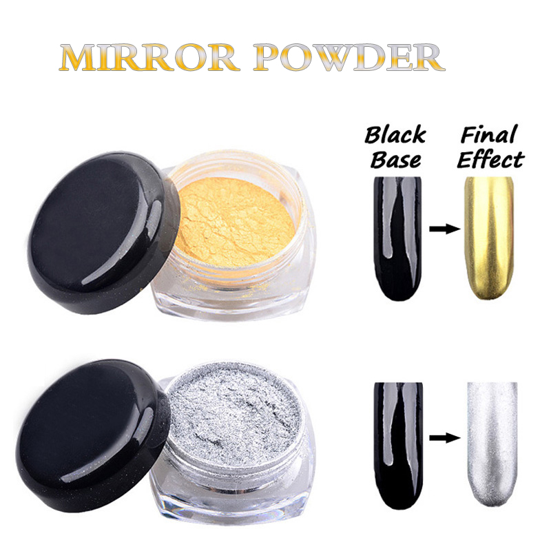 1 stks goud zilver nail spiegel effect poeder polijsten voor nail art glitter stof manicure decoratie chrome diy nail accessoires