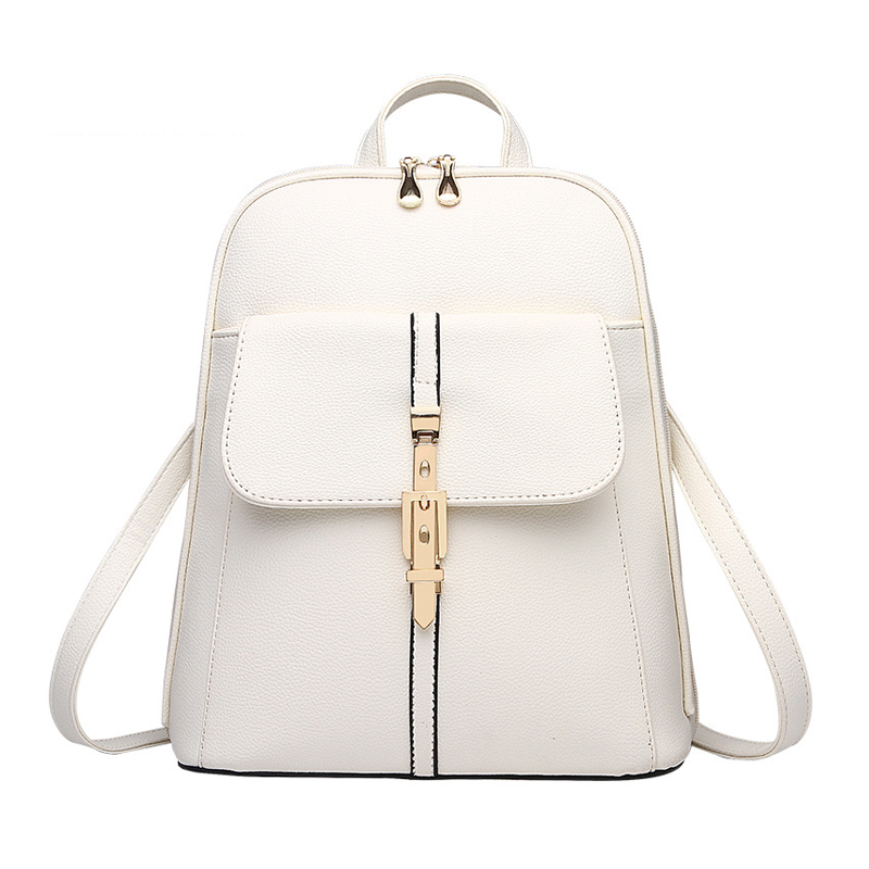VSEN backpacks women backpack school bags students backpack ladies women's travel bags leather package White
