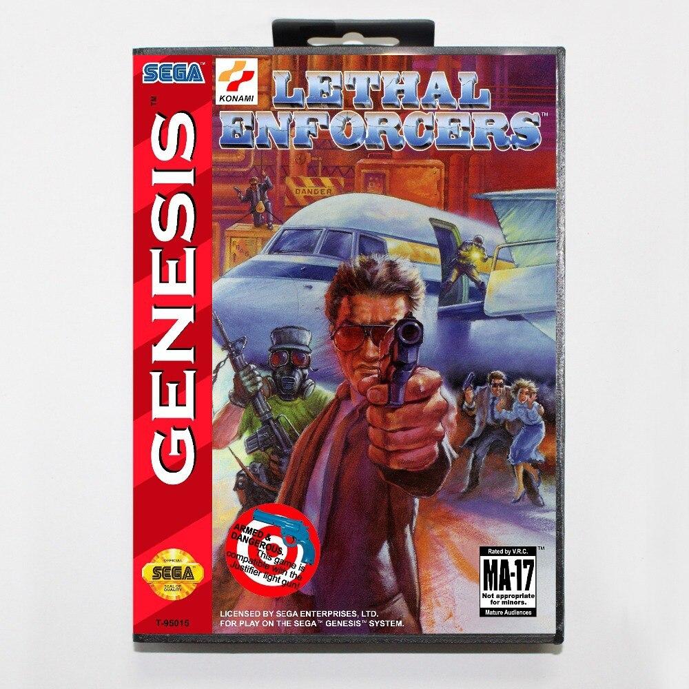 Lethal Enforcers Game Cartridge 16 bit MD Game Card With Retail Box For Sega Mega Drive For Genesis