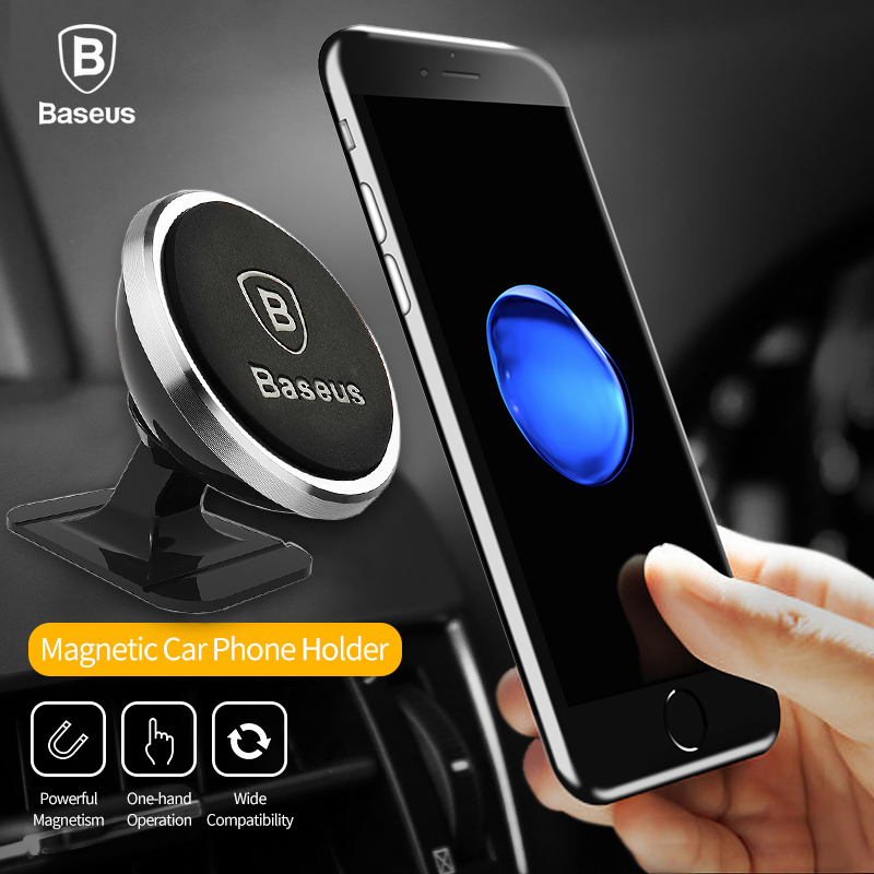 Baseus Universal Mobile Phone Holder 360 Rotation Magnetic Car Phone Holder For iPhone 8 6 7 Samsung S8 Phone GPS Bracket Stand