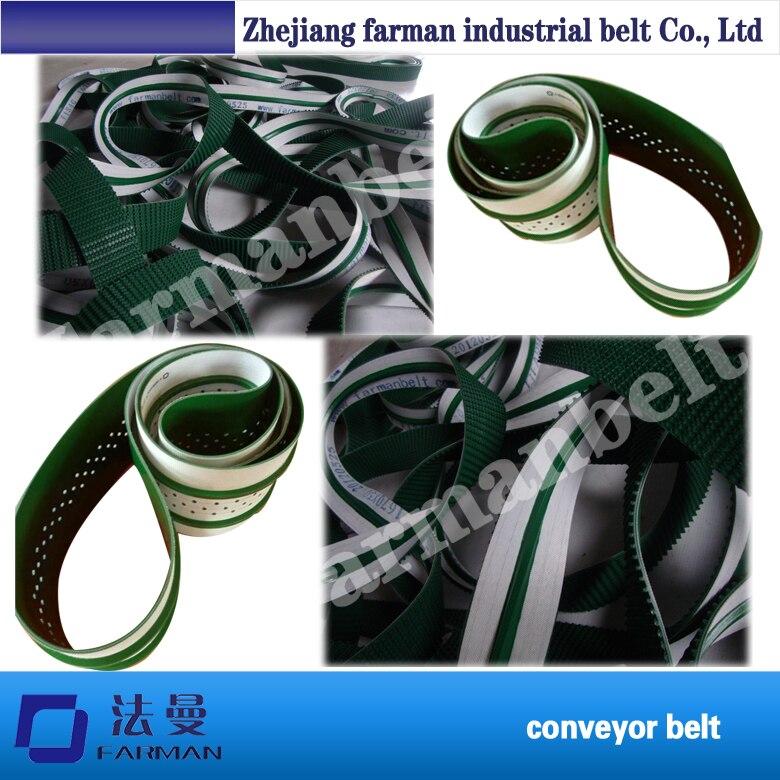 зеленый ПВХ ленточный конвейер с направляющей рейкой
