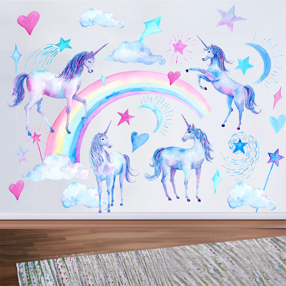 Unicorn Wall Stickers For Kids Rooms Bedroom Living Room Decorative Children Wall Decals Green Stickers Wallpaper Murals Decor