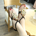 WEISE Bohemian Beaded Casual Shoes  Flip Flops Beach Shoes Metal Decoration  Women Sandals Shoes Women Black Gold Size 35-40
