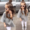 ins* 2016 baby girl autumn cotton terry sweatshirts kids top hoodies bat wing sleeve 2-7Y Mother daughter clothes high quality