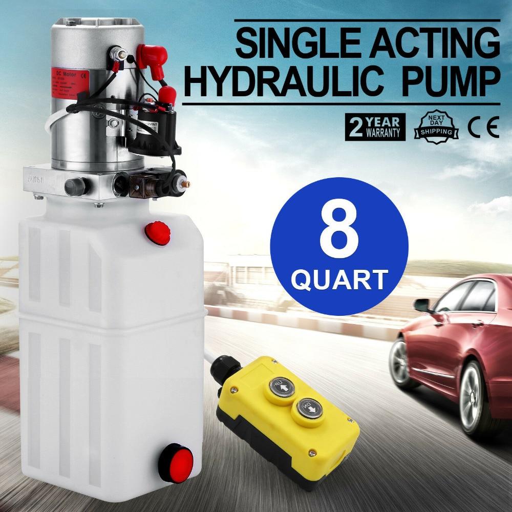 8 Quart Car Lift Hydraulic plastic Pump Power Supply Unit Single Acting for Dump Trailer 12V8 Quart Car Lift Hydraulic plastic Pump Power Supply Unit Single Acting for Dump Trailer 12V