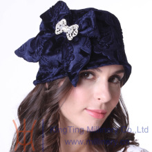Free Shipping Women Winter Hats Warm cloche Hats Natural 100% Velvet Made Brocch Bow Adornment With Shawl Set