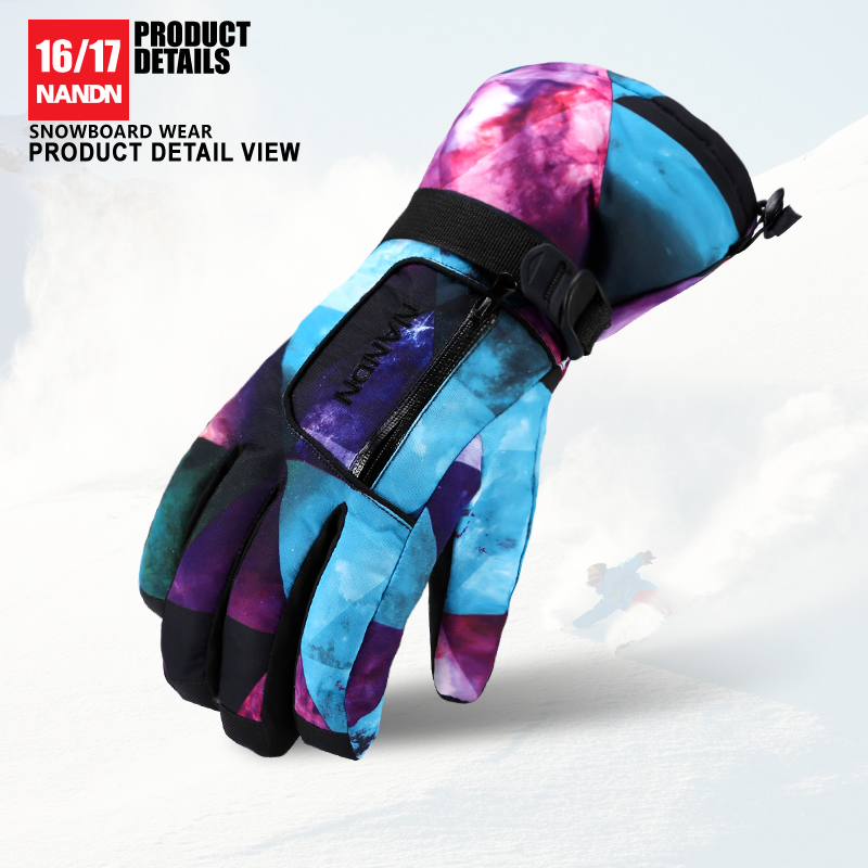 NANDN SNOW Ski Gloves Men Women Keep Warm Snowboard Gloves Motorcycle Winter Skiing Climbing Waterproof Snow Gloves