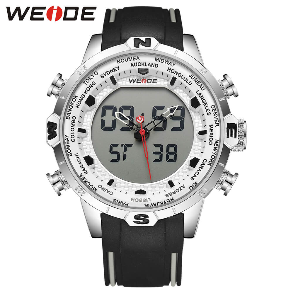 WEIDE Genuine LCD digital waterproof men's watch Quartz men watches luxury brand clock saat fitness bracelet Analog White 6310 weide casual luxury genuin new watch men quartz digital date alarm waterproof clock relojes double display multiple time zone