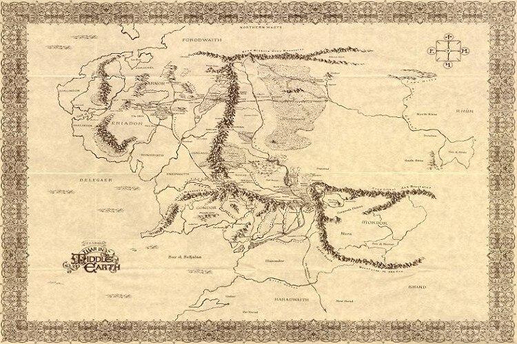 Mapa Tierra Media Hd.Mapa De Tierra Media El Senor De Los Anillos Wall Seda
