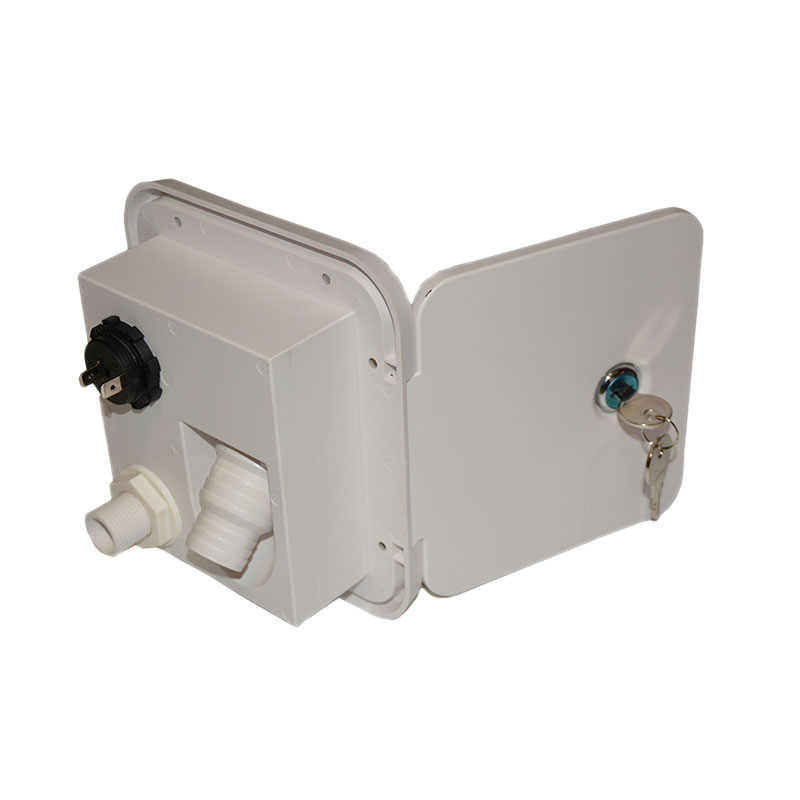 Universal ควบคุมสีขาวน้ำแรงโน้มถ่วง Hatch/ปริมาณน้ำเติมจานกุญแจล็อคสำหรับรถพ่วง Rv Camper Caravan ถัง