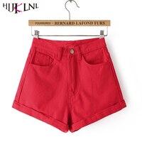 2016 New Fashion Women Summer Denim Shorts Casual High Waist Candy Color Pantalones Short Pants Short