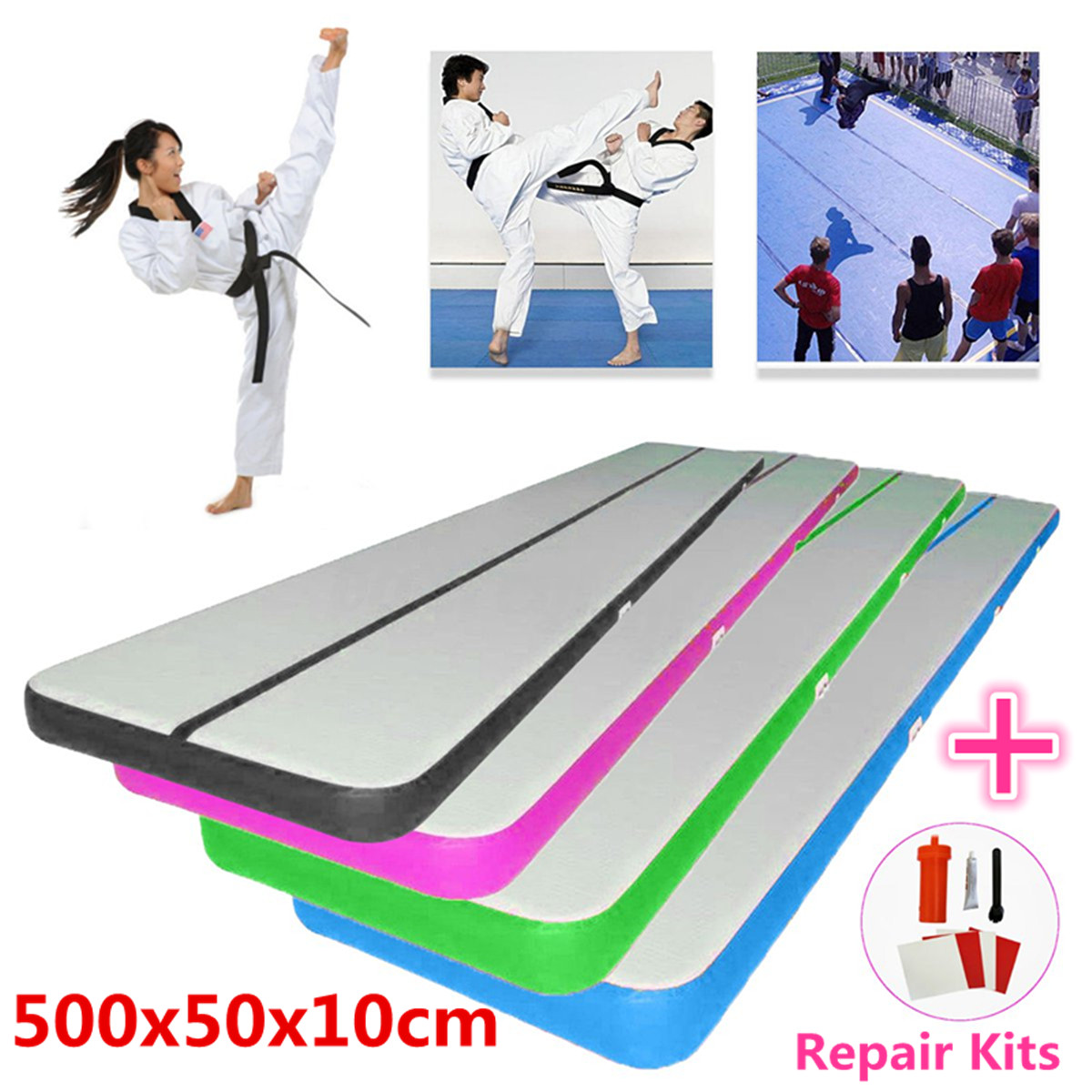 500x50x10cm Airtrack Air Track Floor Home Inflatable Gymnastics Tumbling Mat GYM Inflatable Balance Equipment Exercise gofun airtrack 10ft x 3 ft air tumbling track mat gymnastics exercise pad inflatable gym training mats balance beam 110v air