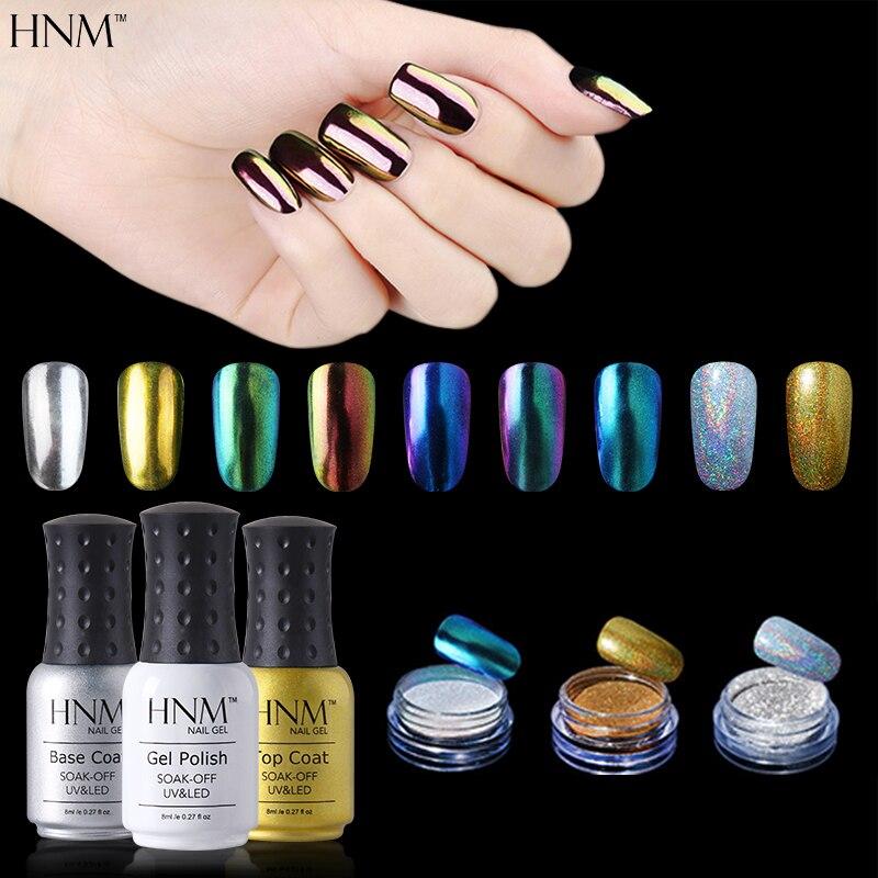 HNM 1pcs Black Nail Gel 1 Set Top Coat Base Coat 3pcs Nail Glitter Dip Powder Set Gelpolish Gel Lak Nail Art Set