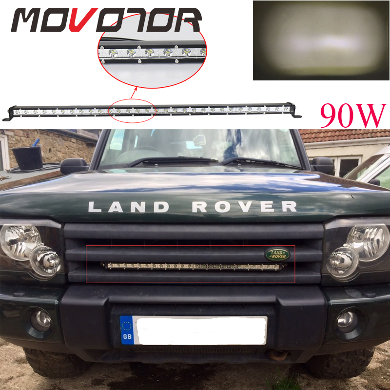 12/24V 32 Inch <font><b>90W</b></font> <font><b>Led</b></font> Light Bar Auto Work Lights Spot Flood Combo Beam High Intensity <font><b>Chips</b></font> 4x4 Offroad Single Row Bars image