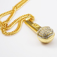 Iced Out 18K Gold Plated Rhinestone DJ Mic Pendant Hip Hop Gold Tone Microphone Charm Cuban