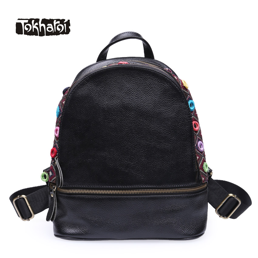 Tokharoi Brand Women National Genuine Leather Backpacks Cow Leather Shoulder Bags Fashion Embroidery Pattern Softback Backpacks