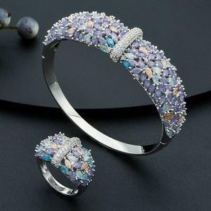 Image 4 - Modemangel Delicate Shiny Bloemen Aaa Zirconia Koperen Saudi Dubai Jewerly Sets Voor Wome Dracelets Bungelt Ring Bruiloft