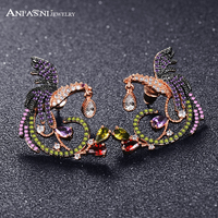 ANFASNI 2017 New Arrival Unique Luxury Phoenix Bird Earrings Rose Gold Plated With Multi CZ Jewellery