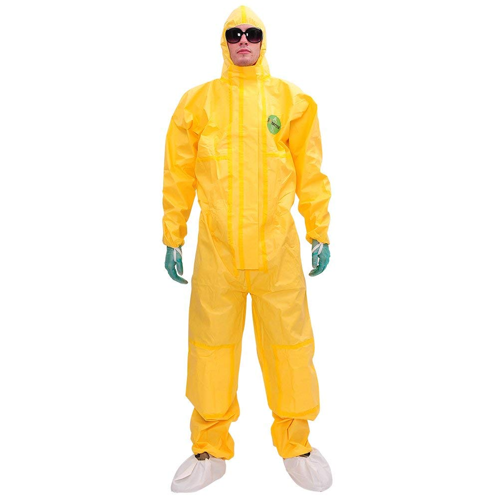 Raytex Yellow Disposable Chemical Protection Coveralls with Hood Elastic Cuffs Serged Seam Front Double Zipper Closure платье seam seam mp002xw18uic