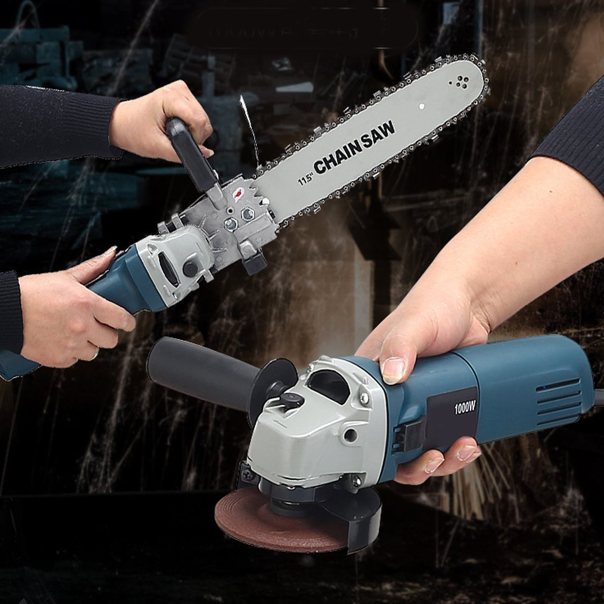 1000W 220V 11000rpm 6 Speed Adjustable Electric 100 Angle Grinder + Chainsaw Woodworking Cutting Chainsaw Bracket