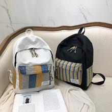NEW ARRIVAL Summer Backpack Canvas School bag Stripe Letter Simplicity Zipper in Womens Casual Daypack