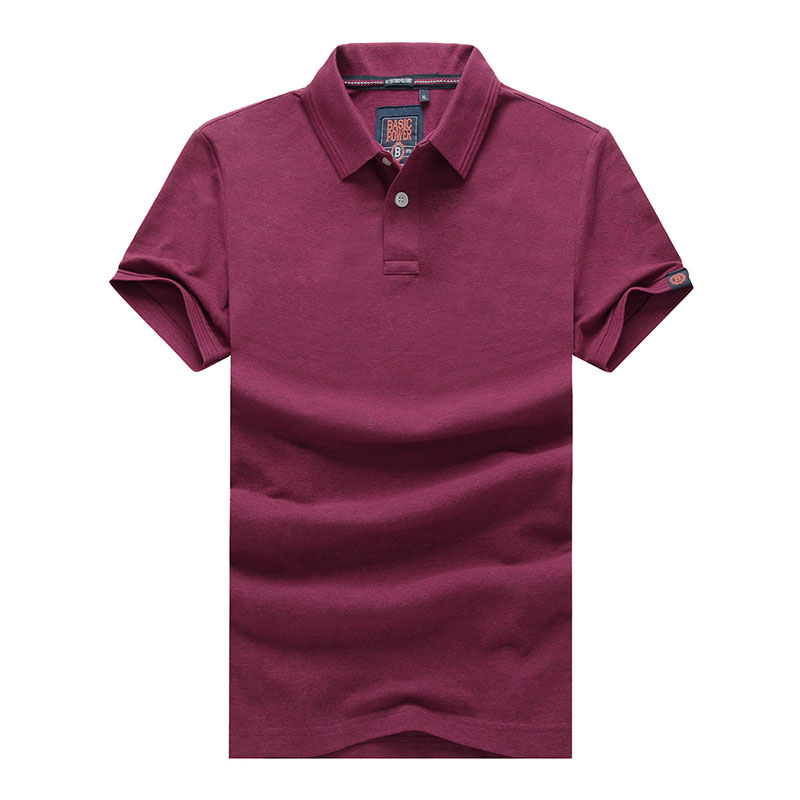 XXXL Summer Men's Solid Color Cotton Polo Shirts Brand Fitness Tops Tees Short Sleeve Shirts Casual Wine Red Men Polo Shirts (32)