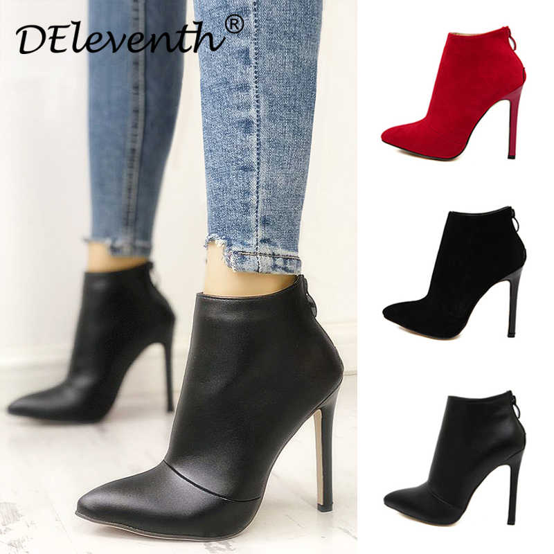 Belle Sözleşmeli Tarzı Düz Renk Siyah Kadınlar Kırmızı Düğün Ayakkabı Geri Fermuar Sivri Burun Yüksek Topuk Çizmeler Ayakkabı Kadın yarım çizmeler