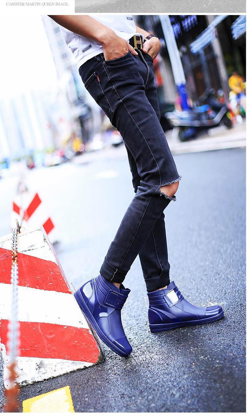 HTB1 hNvKgaTBuNjSszfq6xgfpXaZ - Dwayne 2018 Fashion PVC Waterproof RainBoots Waterproof Flat Shoes Men Black Rainboots Blue Rubber Ankle Boots Buckle Botas