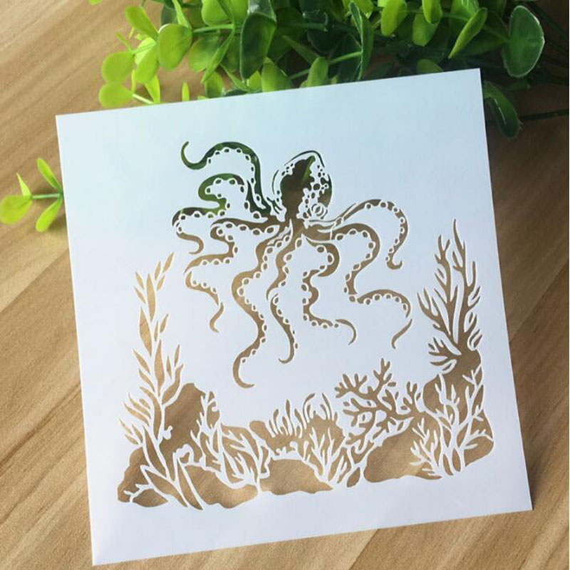 Bullet Journal Supplies Hollow Octopus Stencils Wall Painting Scrapbook Coloring Embossing Album Decorative Paper Card Template
