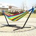Супер Мягкий Нейлоновый гамак в полоску с радугой  двойной человек  спортивный садовый подвесной стул 200*120 см  качели для взрослых детей с же...