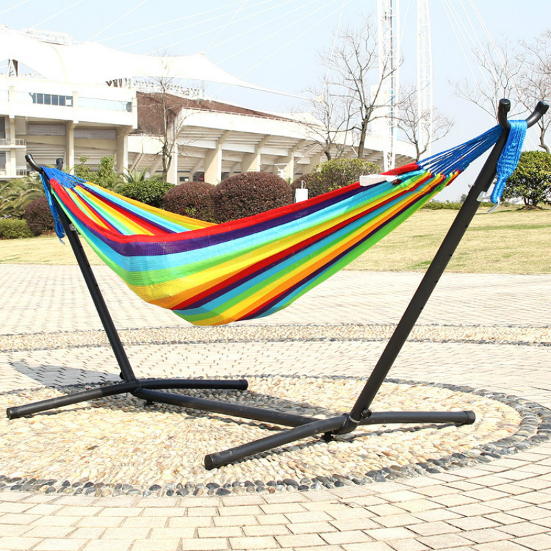 Stripe Rainbow Super Soft Nylon Hammock Double People Sports Garden Hanging Chair 200*120cm Adult Child Swing With Iron Frame
